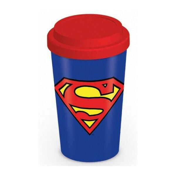 Superman Logo Retro Travel Mug | DC Comics Gift for Him | Beth & Bunn