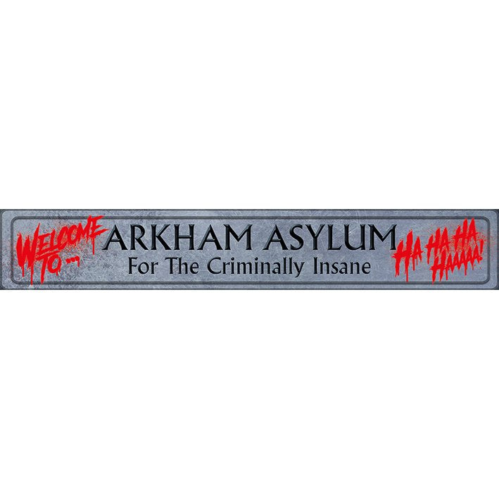 Official Joker Welcome to Arkham Asylum Sign Plaque | Beth & Bunn