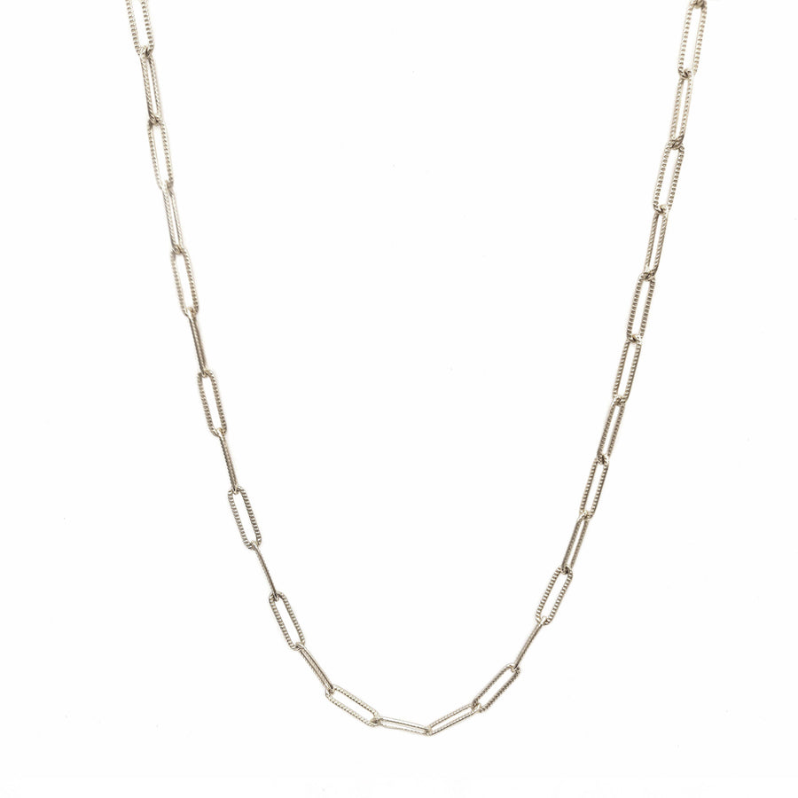 Patterned Link Necklace Silver