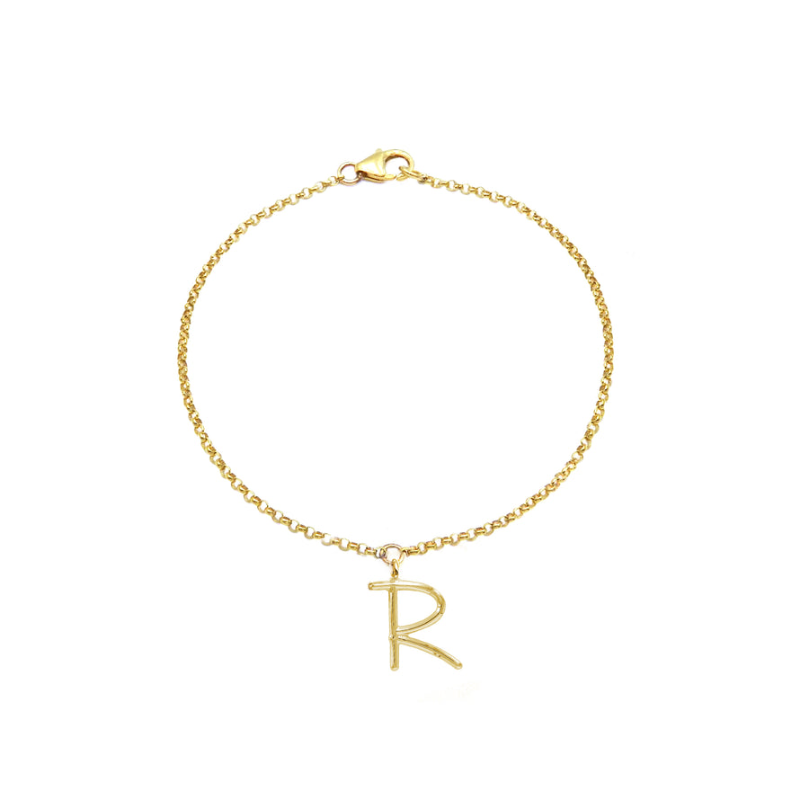 MINI INITIALS YELLOW GOLD PLATED BRACELET