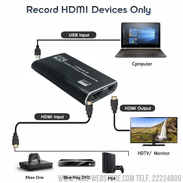 Dispositivo de captura de video 4K HDMI a USB3.0 1080P para transmisión en vivo y grabación de vídeo-Capturadora de Video-TSDC Webstore