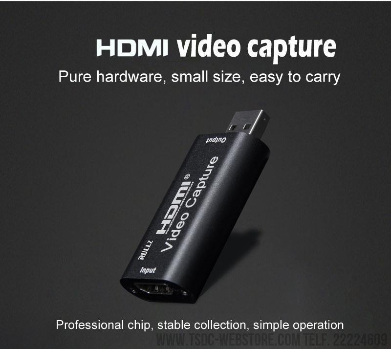 Capturadora de video Mini 4K 1080P HDMI a USB 2.0 para Grabación y Video en Vivo (Live Streaming Broadcast)