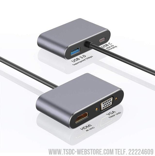 Adaptador 4 en 1 de USB tipo C a HDMI 4K 1080P con Convertidor VGA y Cardador Rápido PD 87W Dongle Dock para Macbook-Cable adaptador HDMI-TSDC Webstore
