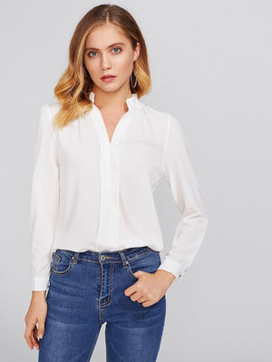 ARTEMIS Pleated Detail Chiffon Shirt