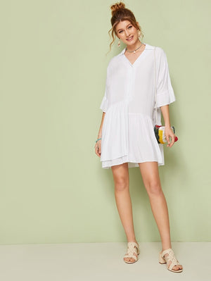 BRIZO Solid Ruffle Shirt Dress