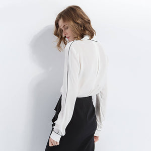 BARBARA Silk Elegant Long Sleeve Blouse
