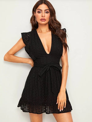 BIA Plunging Neck Above the Knee Dress