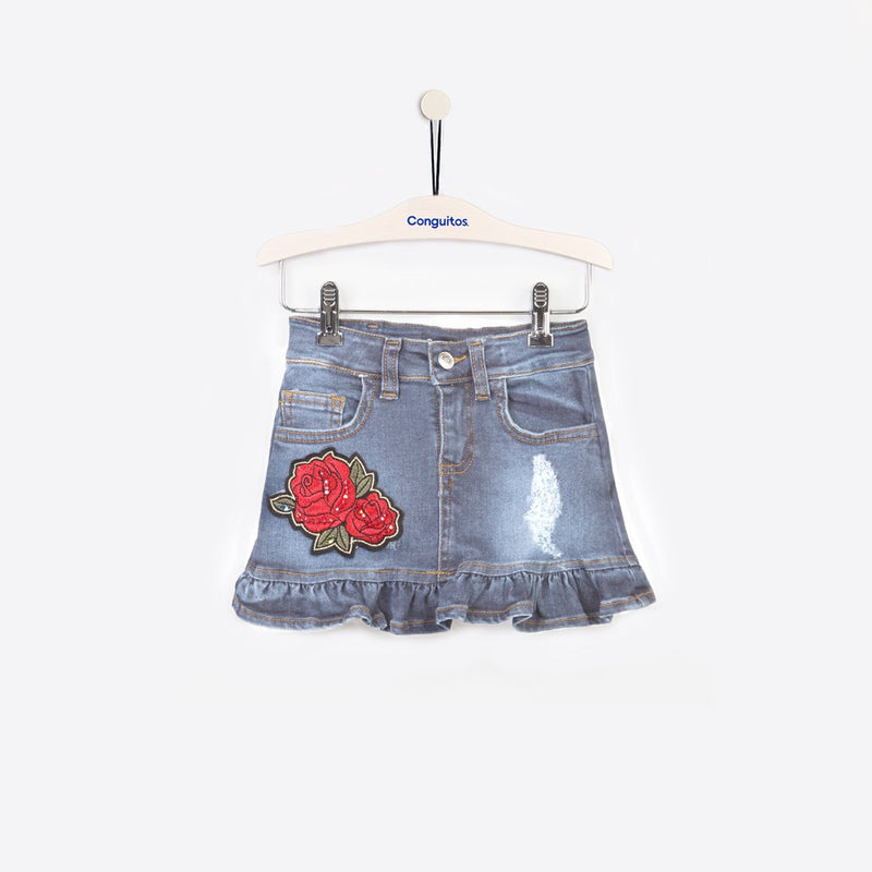 FUSTA DENIM  cu floare - Conguitos RO