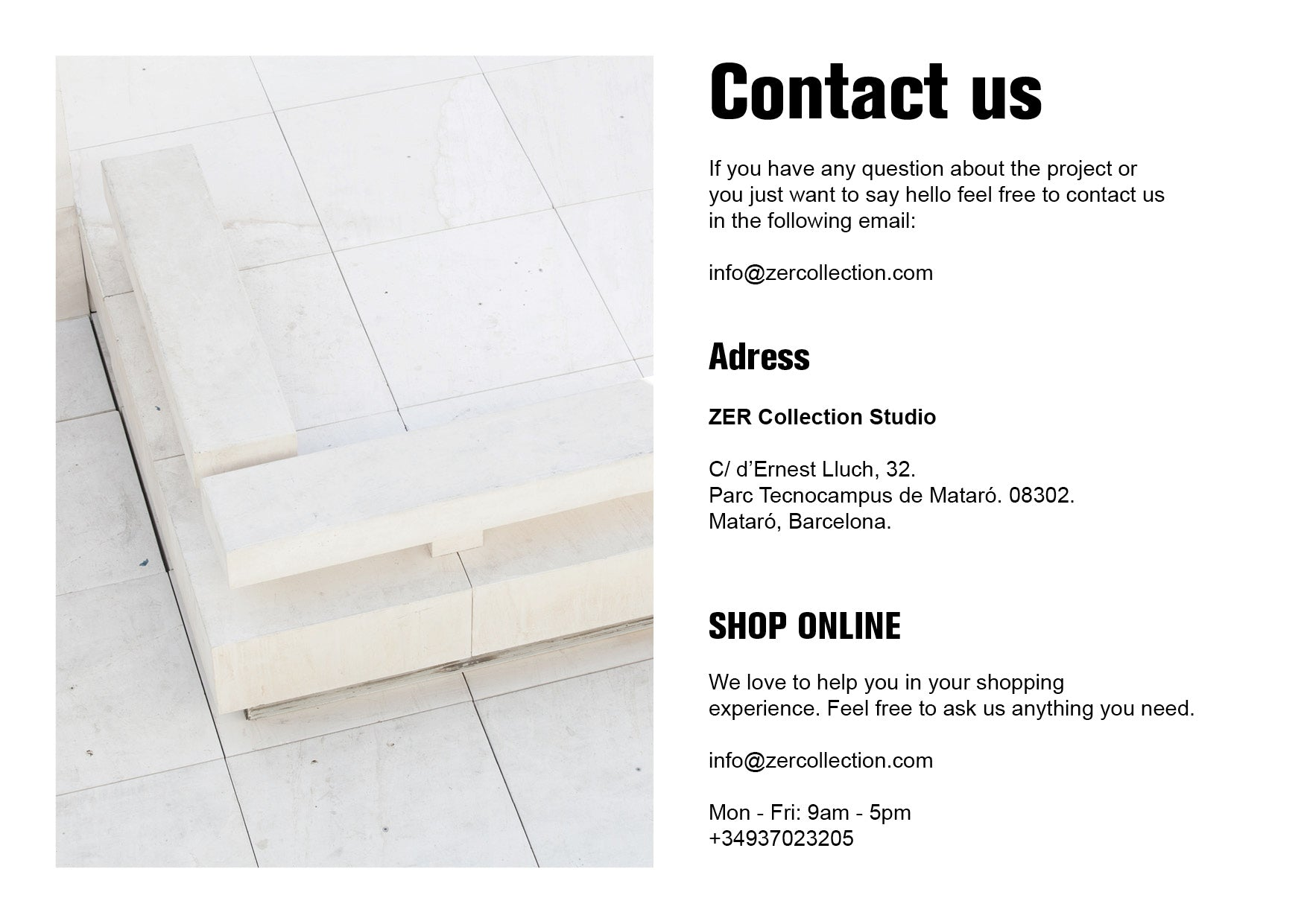 contact us - zer collection - studio - email - info@zercollection.com
