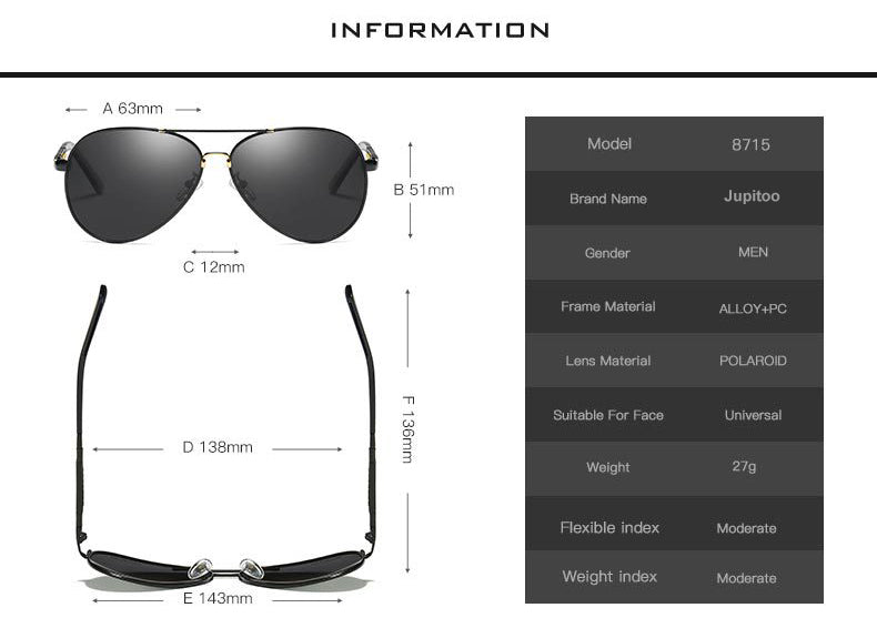 Aviator Sunglasses 8715 suitable for men