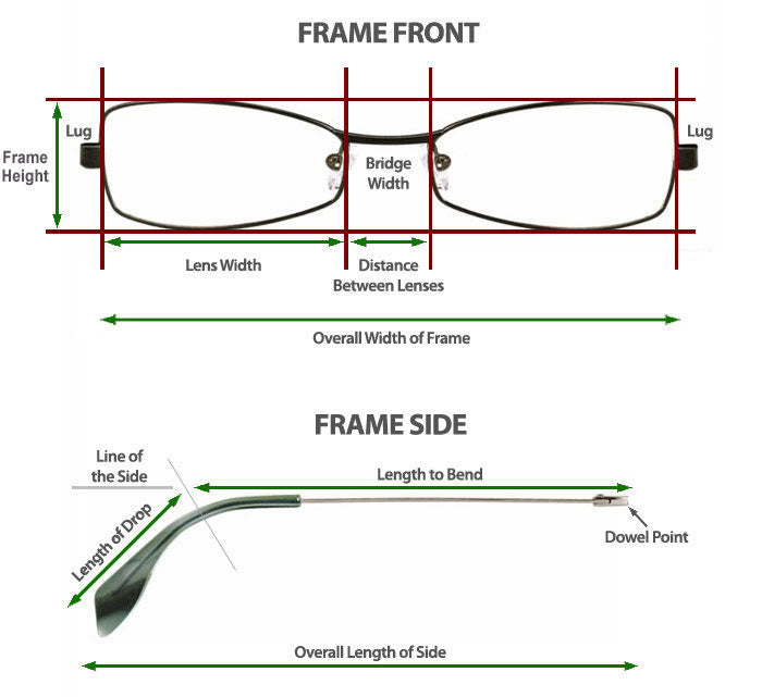 glasses frame dimensions