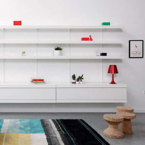 Dezeen Showroom: British brand ON&ON has added a made-to-measure desk, cabinet and clothes hanger components to its modular shelving system