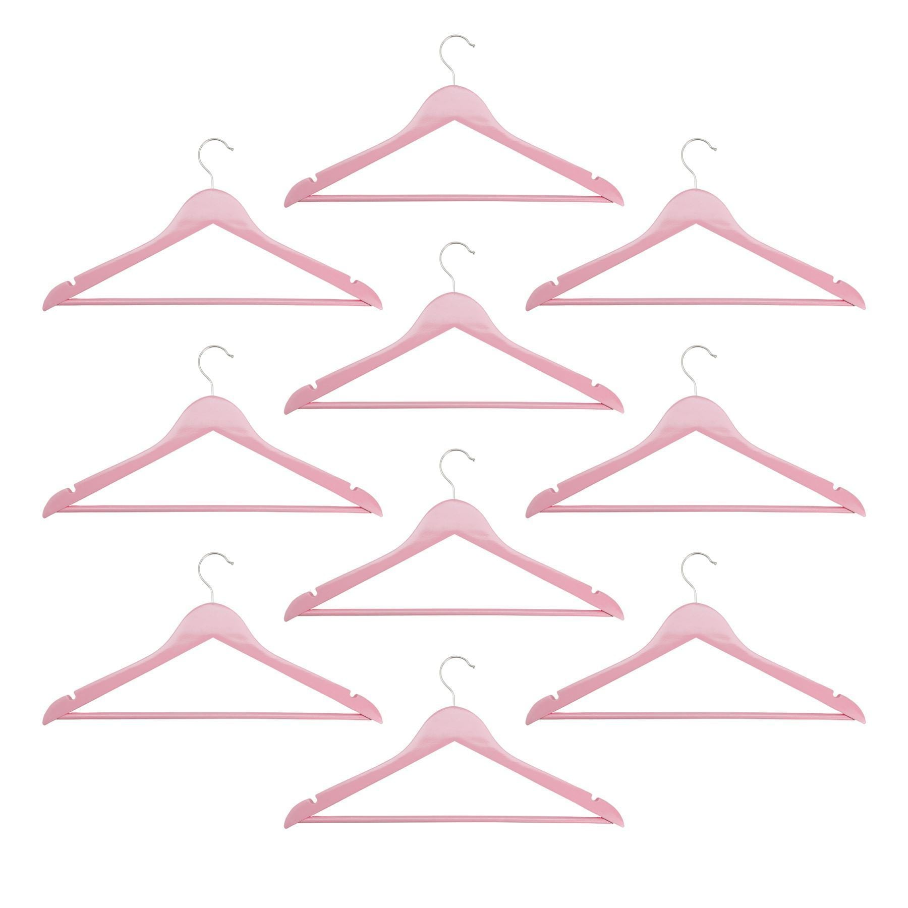Harbour Housewares Wooden Clothes Hangers - Pastel Pink - Pack of 10