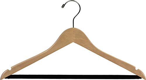 Extra Large Wooden Suit Hanger with Velvet Non-Slip Bar and Natural Finish, Box of 50 Oversized 20 Inch Hangers with Notches and Chrome Swivel Hook by The Great American Hanger Company