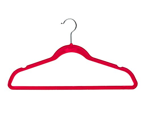 BriaUSA Velvet Suit Hangers Multipurpose Slim with Notched Shoulders & Swivel Chrome Hooks – Dark Pink – Set of 10
