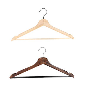 2PCS Multifunctional High Grade Solid Wooden Suit Hangers Coat Hangers with Anti-Rust Hooks and Non-Slip Bar (Natural and Walnut Finish)