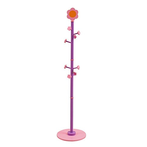 BJLWTQ Kids Children Coat Rack, 63'' Tall Entryway Hall Tree Coat Tree Stand Coat Hanger Clothes Tree for Jacket,Hat,Clothes,Purse,Scarves,Handbags,Umbrella-(8 Hooks,Purple)