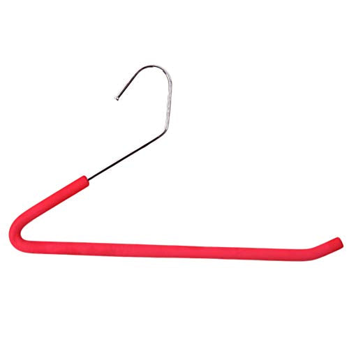 CmfwaMedsr Stainless Steel Anti-Slip Hanger,Multipurpose Magic Open Ended Pant Hangers for Towel Scarf Ties Belts Jeans-red 10 Pack