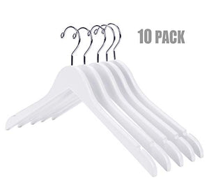 Nature Smile High Grade Lotus Wooden Shirt Dress Hangers, 10 Pack - Solid White Wood Bridal Wedding Dress Hangers, Coat Jacket Clothes Hangers, With Extra Smooth Finish, 360 Degree Swivel Hook?White?