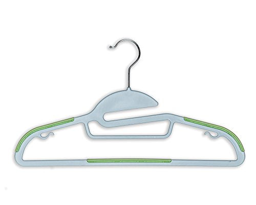 BriaUSA Dry Wet Clothes Hangers Amphibious Light Green with Non-Slip Shoulder Design, Steel Swivel Hooks – Set of 10