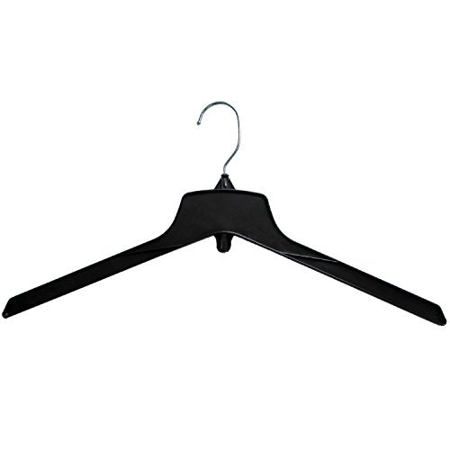 Hanger Central Heavy-Duty Black Plastic Closet Department Store Coat Hangers, 19 Inch, 100 Pack