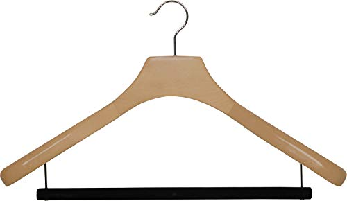 Deluxe Wooden Suit Hanger with Velvet Bar, Natural Finish & Chrome Swivel Hook, Large 2 Inch Wide Contoured Coat & Jacket Hangers (Set of 6) by The Great American Hanger Company