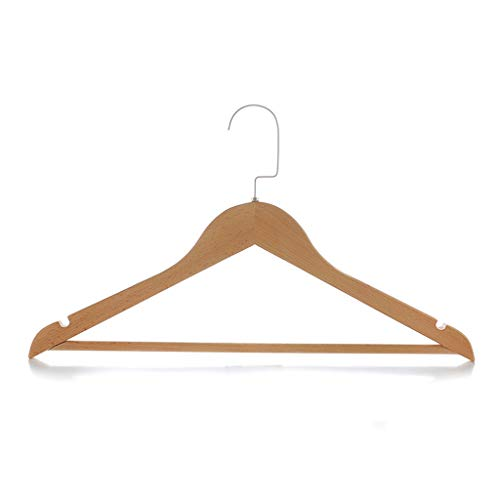Durable Wooden Clothes Hangers Pack of 10 Wood Coat Suit Hangers with Non Slip Trouser Bar for Hotel/Home/Clothing Store,45cm28cm