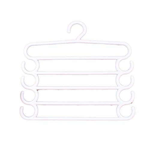 CmfwaMedsr Magic Multiple Layer Pants Hanger,Multifunction s-Type Saving Space Trousers Ties Scarves Belts Towel Hangers-White 2 Pack