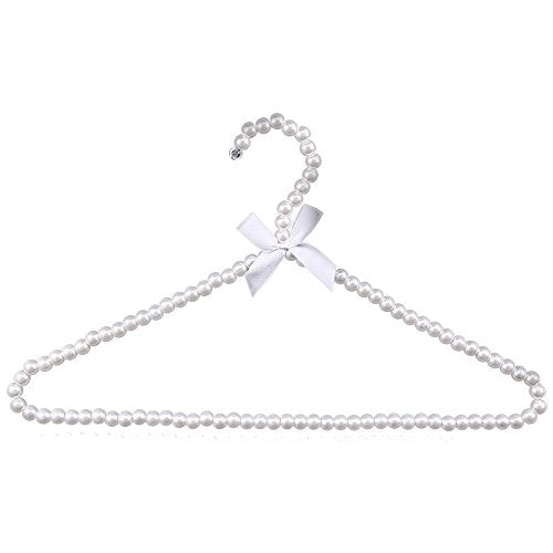 Auntwhale 1 Pack Clothes Pearl Hanger 10KG Weight Bearing Trouser Bead Skirts Adult Hanging Holder White