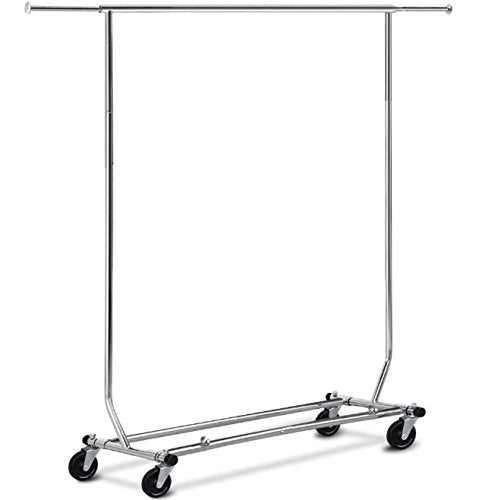 Brother123shop Clothing Rack Collapsible Bar Commercial Wheels Rolling Duty Heavy Tier Stand 250LBS