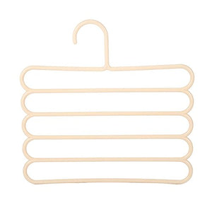 Daycount Pack of 3 Pants Slack Closet Hangers Storage, Space Saver Rack S-Type Closet for Clothes Pants Clothes Scarf Tie Hanging (Beige)