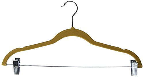 Achim Home Furnishings Velvet Anti-Slip Skirt Hangers, Tan, 10-Pack