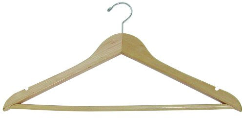 "Deluxe Hard Wood 17"" Suit Hanger Natural Finish - Box of 100 -"