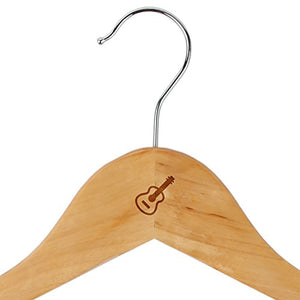 Acoustic Guitar Maple Clothes Hangers - Wooden Suit Hanger - Laser Engraved Design - Wooden Hangers for Dresses, Wedding Gowns, Suits, and Other Special Garments