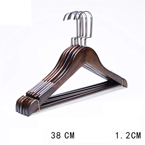 Durable Wooden Clothes Hangers Pack of 10 Wood Coat Suit Hangers with Non Slip Trouser Bar, 360° Swivel Hooks for Hotel/Home/Clothing Store -10 Pack,38cm