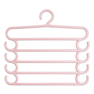 DeroTeno Pants Hangers, 2 Pcs Plastic Multi-functional Pants Rack Scarf Closet Storage Organizer for Pants, Scarf, Ties, Belts, Random Color