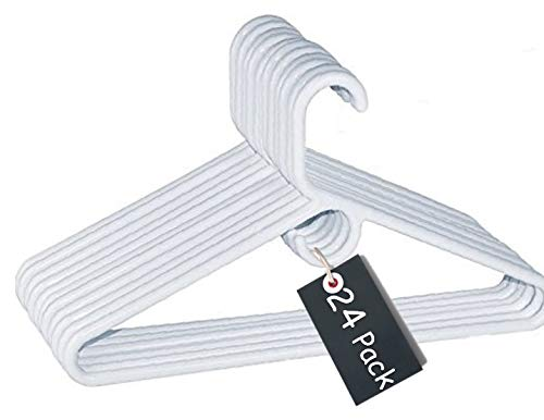 1InTheHome Heavy Duty White Hangers Tubular Plastic Hangers, Set of 24 (Heavy Duty)