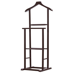 Clothes Suit Hanger Men's Valet Stand Coat Rack New Brown Executive