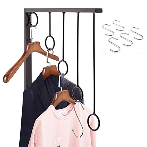 OKOMATCH Clothes Hanger Wall Mounted Clothing Organizer/Drying Rack/Garment Dispaly + 5Pcs Stainless Steel Hooks,Indoor & Outdoor Use,Heavy Duty (Black)