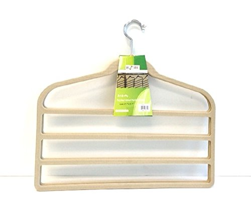 18123B Uniware ( 4 Tier ) Flocked Velvet Pants Hanger,(Set of 4) (Cream)