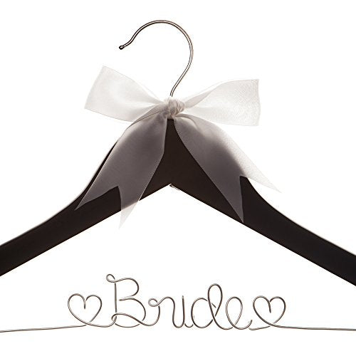 Ella Celebration Bride to Be Wedding Dress Hanger Wooden and Wire Hangers for Gown (Black with Silver Wire)