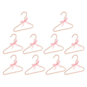 Fityle Pack of 10, Plastic Pearl Pink Beaded Clothes Hanger Trousers Skirt 20cm Household Organization