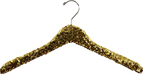 Gold Sequined Wooden Hanger, Curved 17 Inch Hanger with Hardwood Core and Polished Chrome Swivel Hook (Set of 3)