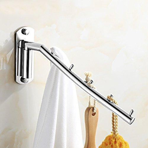 Catanexus Folding Wall Mounted Clothes Hanger Rack Clothes Hook Stainless Steel with Swing Arm Holder Clothing Hanging System Closet Storage Organizer Heavy Duty Drying Rack with 5 Hooks Polished Finish
