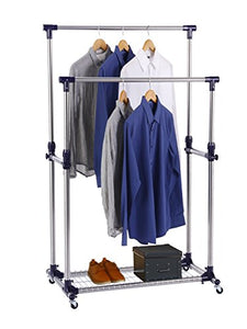 Finnhomy Double Rails Adjustable Free Standing Rolling Garment Rack Stainless Steel Clothing Portable Indoor Balcony Hanging Drying Stand Mobile Rack for Clothes Outdoor Sale Display with Caster Wheel