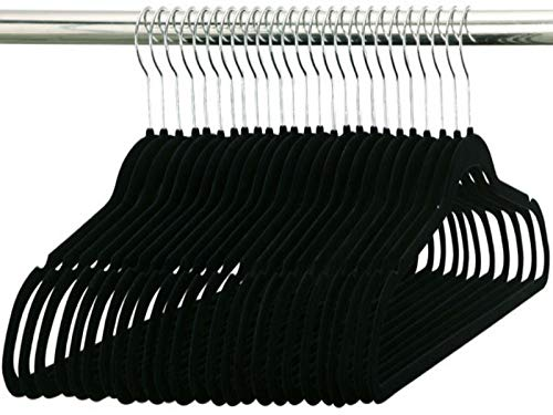 Durable Non-Slip Standard Black Velvet Hangers-50 pack-Coat & Clothes Hanger 17.5 inch widht