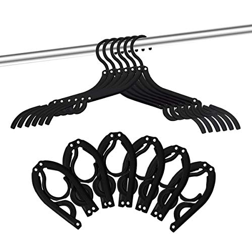 12 PCS Travel Hangers - Portable Folding Clothes Hangers Travel Accessories Foldable Clothes Drying Rack for Travel (Black)