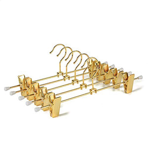 Amber Home Shiny Gold Metal Slacks Pants and Skirt Hanger with Adjustable Clips Hang Rack with Hook (5)