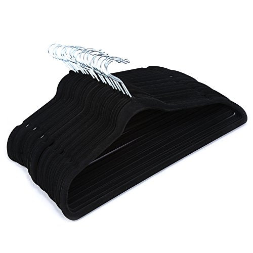 Black Velvet Clothes Hangers Set,Premium Quality Non-slip Padded with Notched Hangers for Dresses,Pants, Blouses, Shirt and Suits, Pack of 50