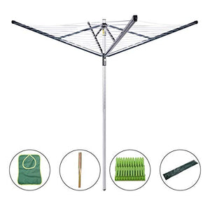 Drynatural Clothesline Outdoor Rotary Dryer, 4 Arms Foldable Heavy Duty Height Adjustable Clothes Drying Rack, 196FT Drying Space, Hang Wet or Dry Laundry